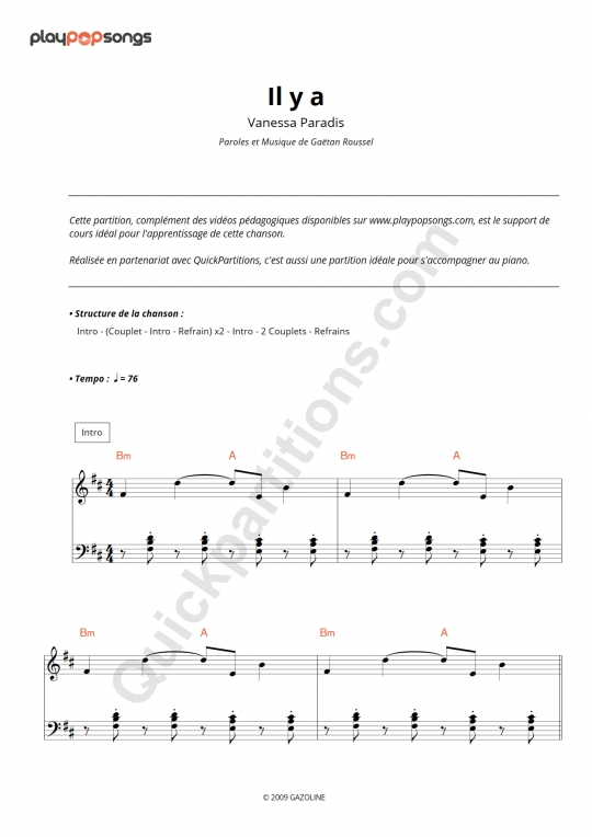 Il y a Piano Sheet Music - PlayPopSongs