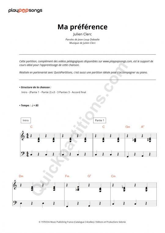 Ma préférence Piano Sheet Music - PlayPopSongs