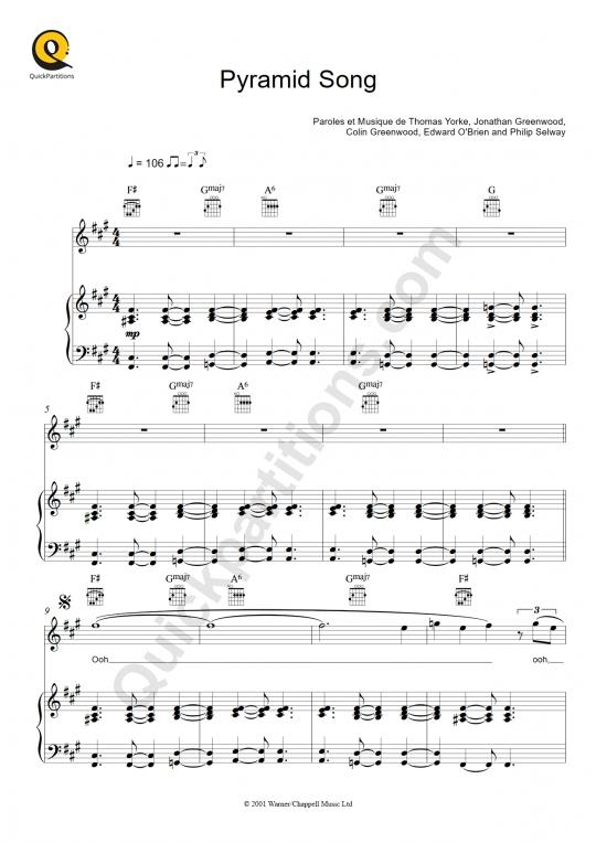 Partition piano Pyramid Song - Radiohead