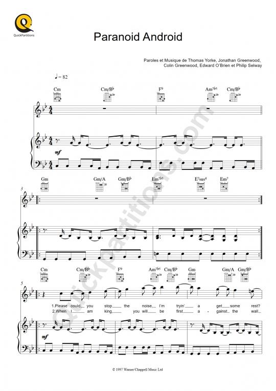 Partition piano Paranoid Android - Radiohead