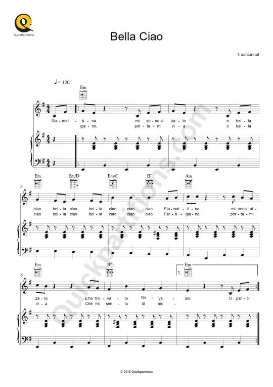 Partition piano Bella Ciao - Traditionnel