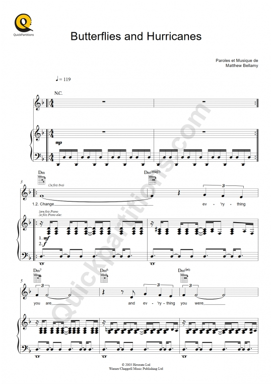 Butterflies and Hurricanes Piano Sheet Music - Muse