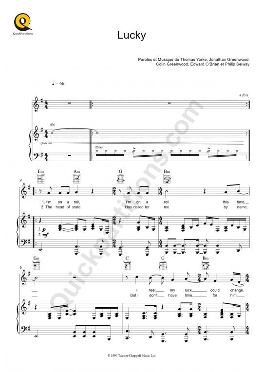 Partition piano Lucky - Radiohead