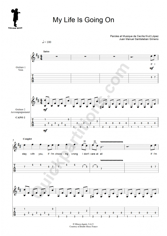 Tablature Guitare My Life Is Going On (La Casa de Papel) - Galagomusic