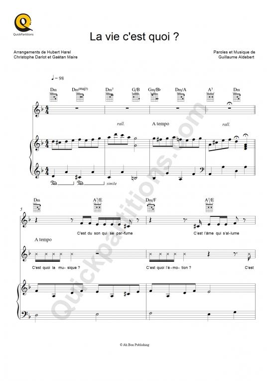 Partition piano La vie c'est quoi ? - Aldebert