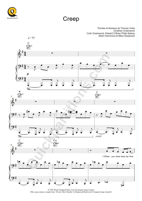 Partition piano Creep - Radiohead