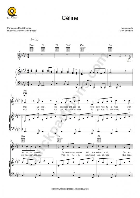 Partition piano Céline - Hugues Aufray