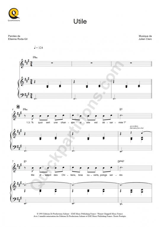 Partition piano Utile - Julien Clerc