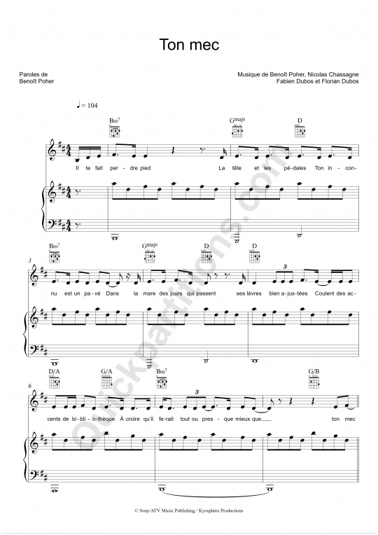 Ton mec Piano Sheet Music - Kyo