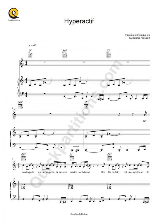 Partition piano Hyperactif - Aldebert