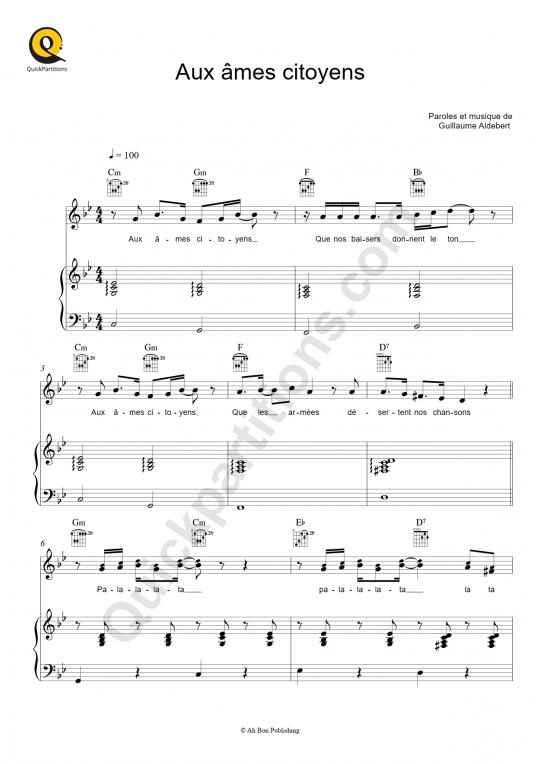 Aux âmes citoyens Piano Sheet Music - Aldebert