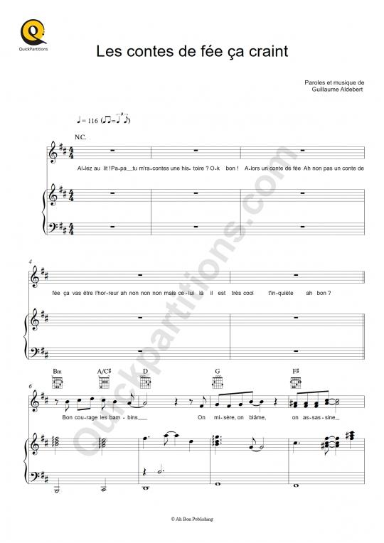 Partition piano Les contes de fée ça craint - Aldebert