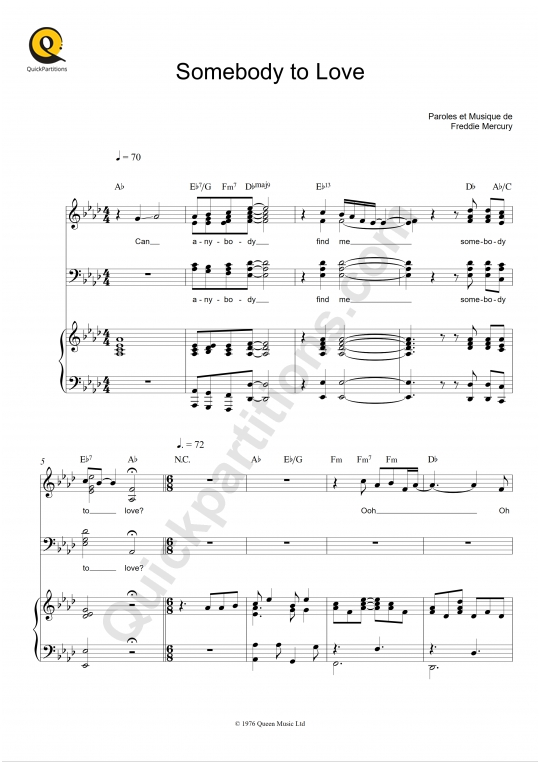 Partition piano Somebody to Love - Queen