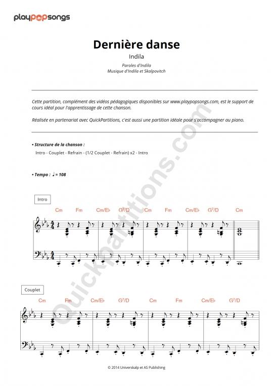 Partition piano Dernière danse - PlayPopSongs