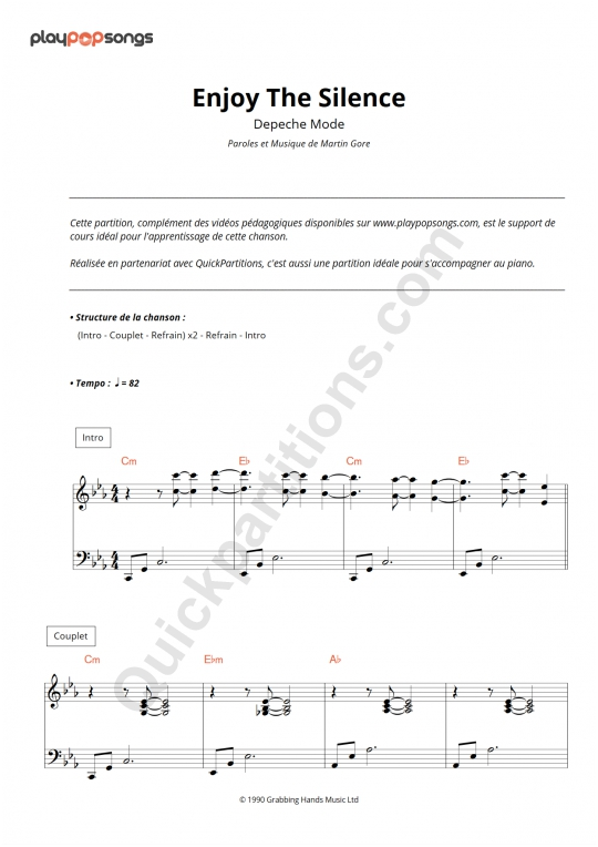 Enjoy The Silence Piano Sheet Music - PlayPopSongs