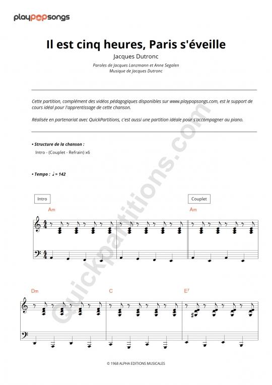 Partition piano Il est cinq heures, Paris s'éveille - PlayPopSongs