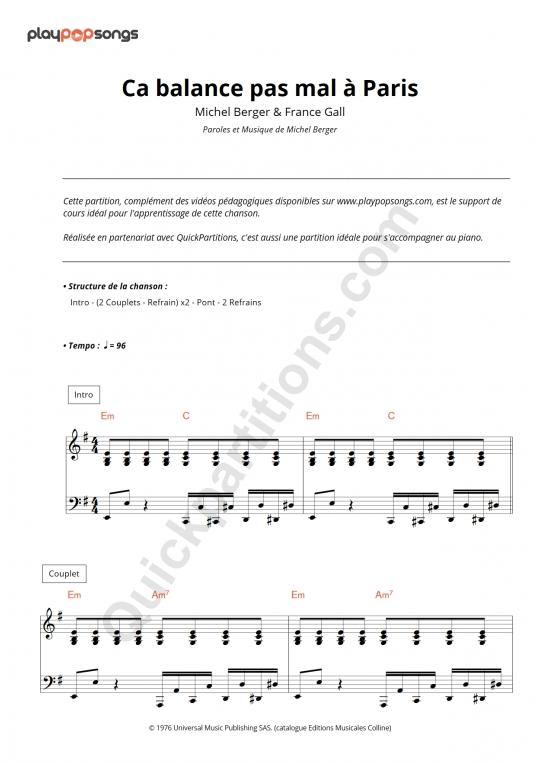Partition piano Ca balance pas mal à Paris - PlayPopSongs