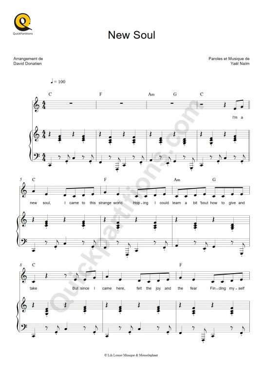 Partition piano New Soul - Yael Naim