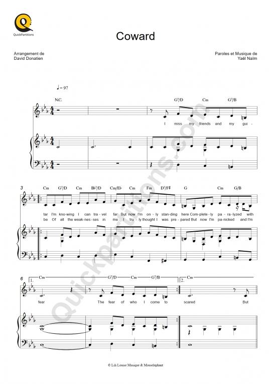 Partition piano Coward - Yael Naim