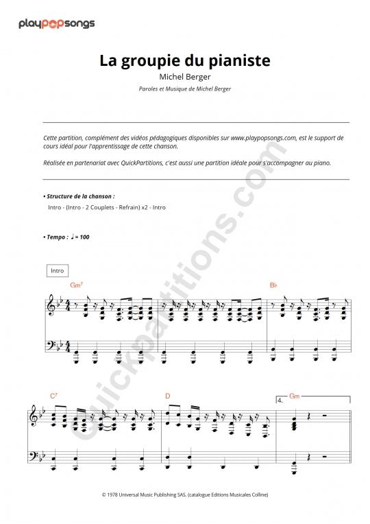 Support de cours La groupie du pianiste - PlayPopSongs