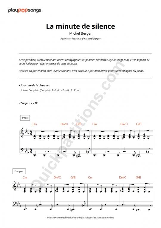 Partition piano La minute de silence - PlayPopSongs