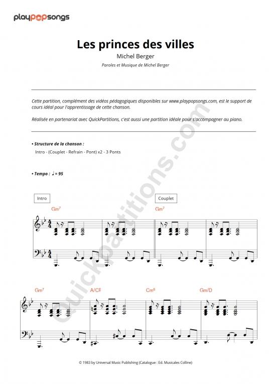 Partition piano Les princes des villes - PlayPopSongs