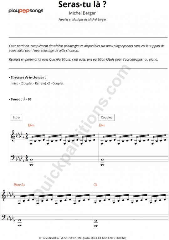 Seras-tu là ? Piano Sheet Music - PlayPopSongs