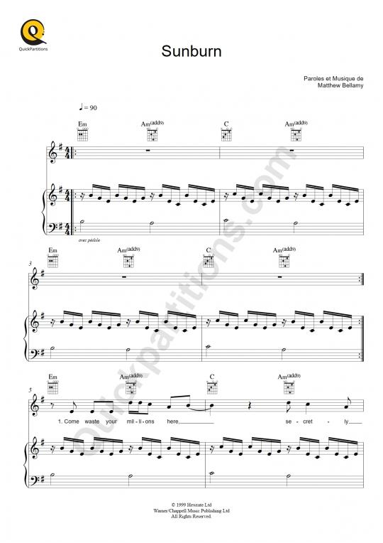 Partition piano Sunburn - Muse