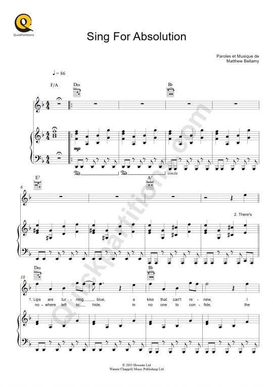 Sing For Absolution Piano Sheet Music - Muse