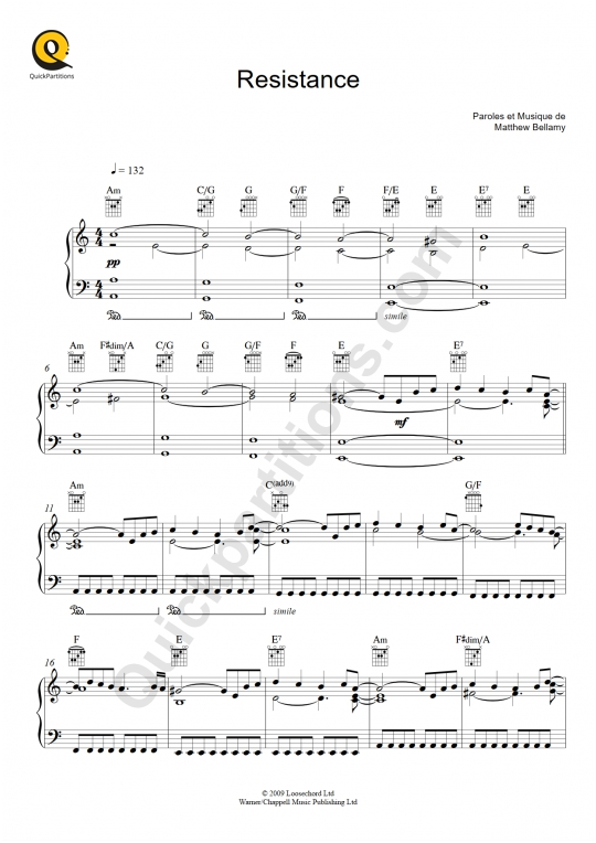 Partition piano Resistance - Muse