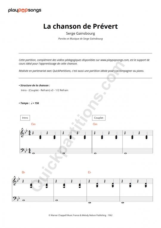 La chanson de Prévert Piano Sheet Music - PlayPopSongs