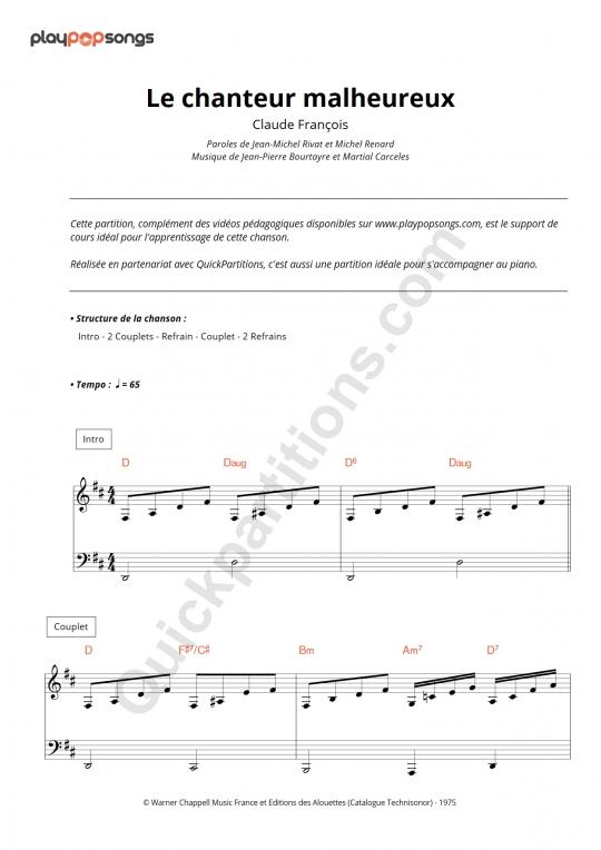 Partition piano Le chanteur malheureux - PlayPopSongs