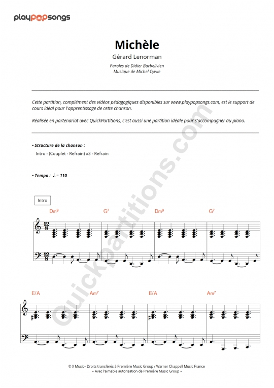 Michèle Piano Sheet Music - PlayPopSongs