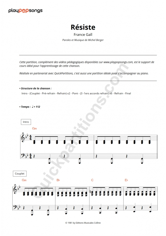 Résiste Piano Sheet Music - PlayPopSongs