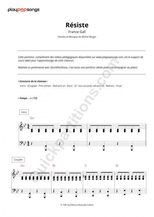 Partition piano Résiste - PlayPopSongs