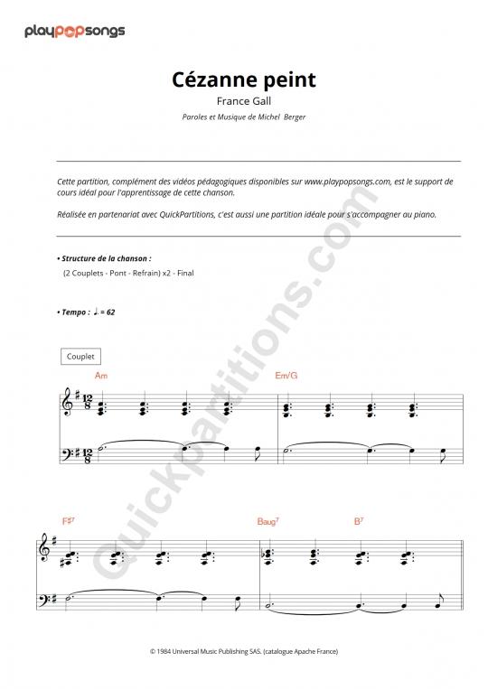 Partition piano Cézanne peint - PlayPopSongs