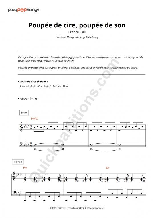 Partition piano Poupée de cire, poupée de son - PlayPopSongs