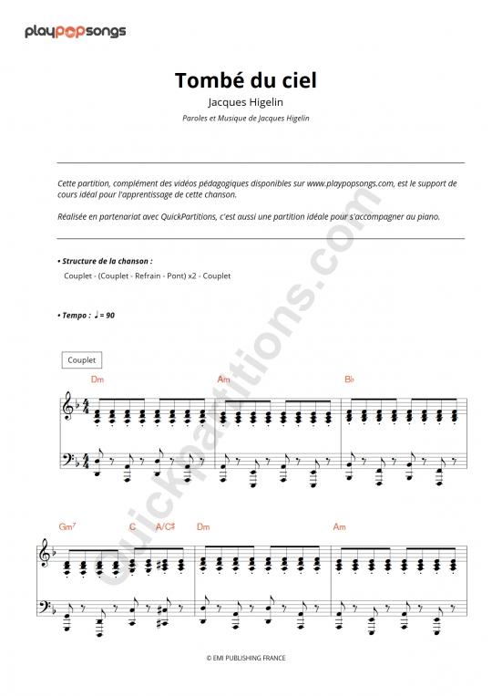 Partition piano Tombé du ciel - PlayPopSongs