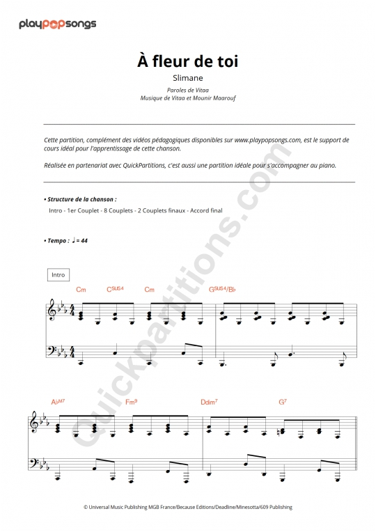 À fleur de toi Piano Sheet Music - PlayPopSongs