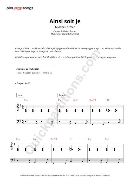 Ainsi soit je... Piano Sheet Music - PlayPopSongs