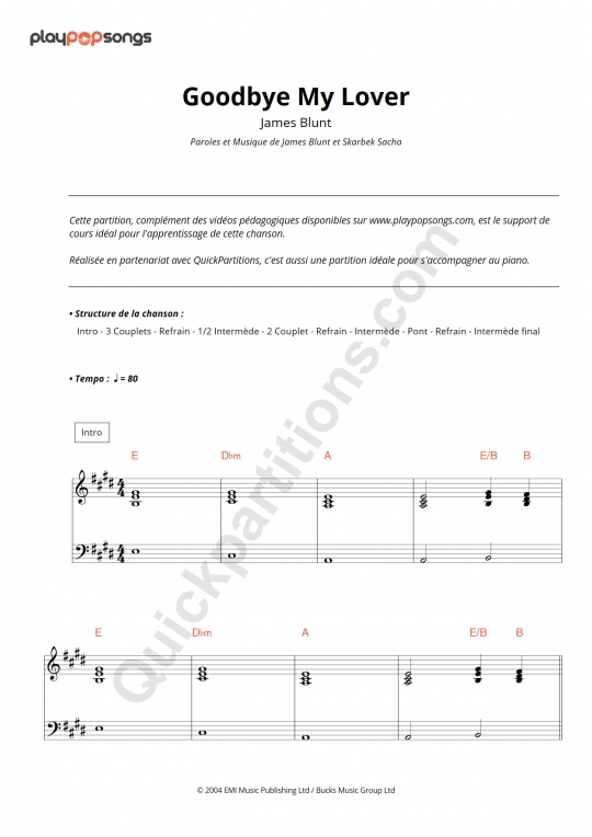Goodbye My Lover Piano Sheet Music - PlayPopSongs