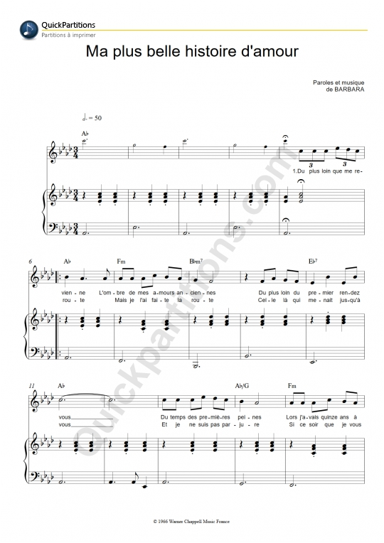 Partition piano Ma plus belle histoire d'amour - Barbara