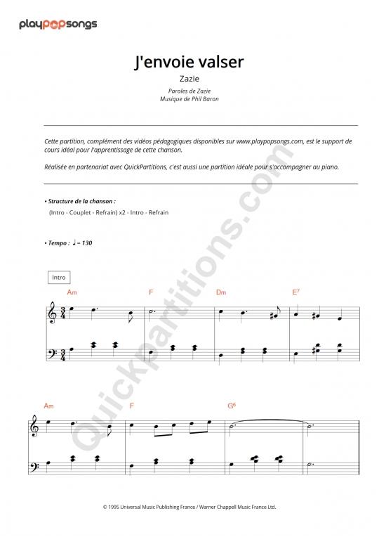 J'envoie valser Piano Sheet Music - PlayPopSongs