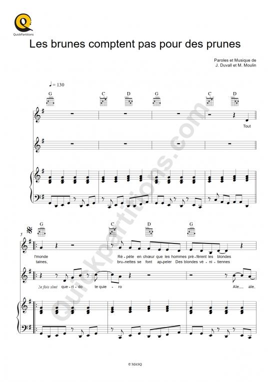 Partition piano Les brunes comptent pas pour des prunes - Lio