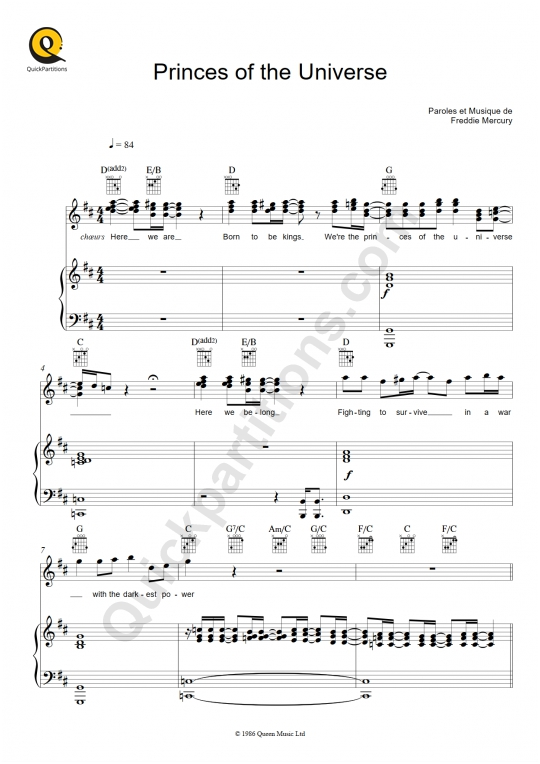 Partition piano Princes of the Universe - Queen