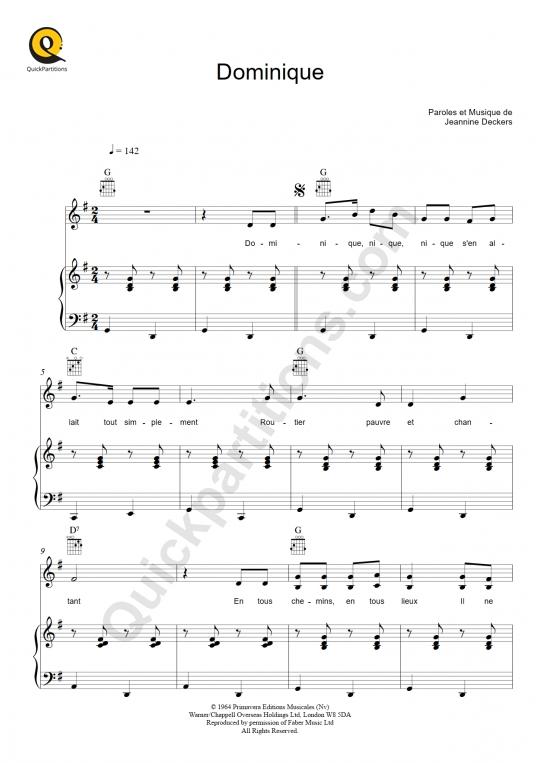 Partition piano Dominique - Sœur Sourire