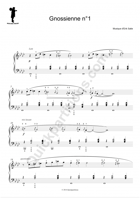 Partition piano Gnossienne N�- Galagomusic