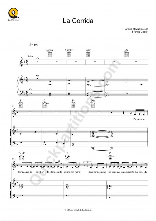 Partition piano La Corrida - Francis Cabrel