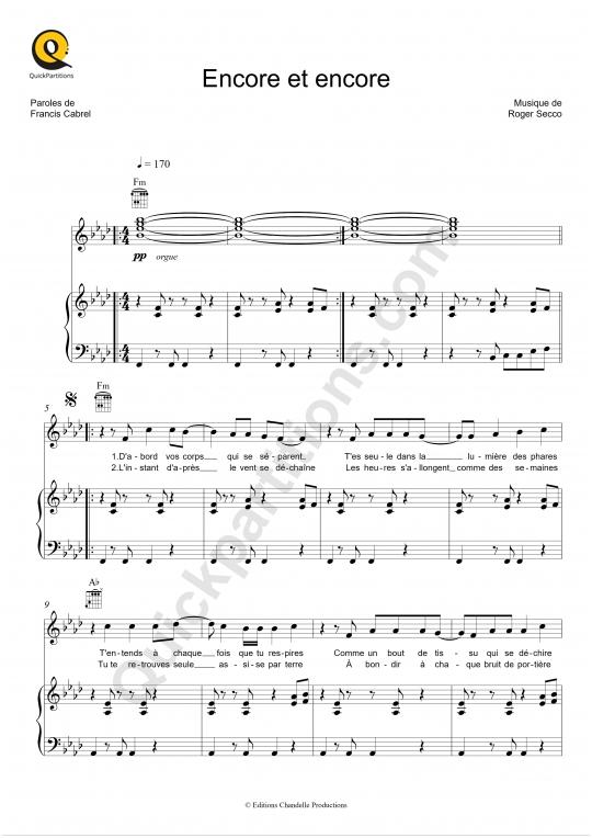 Partition piano Encore et encore - Francis Cabrel