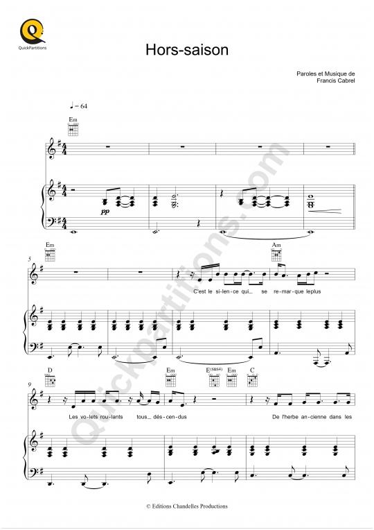 Partition piano Hors-saison - Francis Cabrel